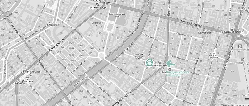 Владимирская площадь на карте