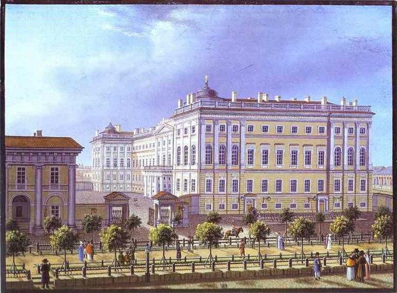 аничков дворец на цветной гравюре